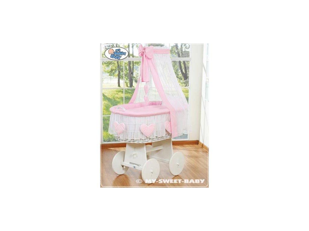 Proutěný koš BÍLY na miminko My Sweet Baby SRDÍČKA - DOMÁCÍ LUXUSNÍ KOČÁREK > varianta 79582-122 2022