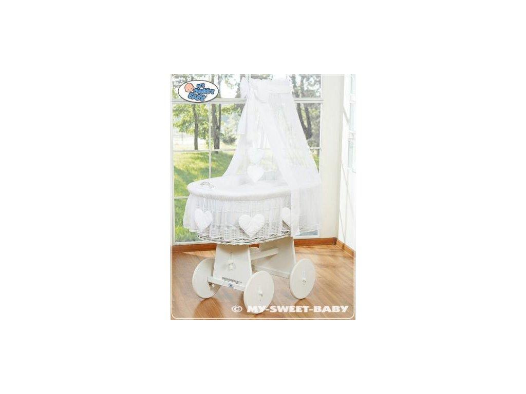Proutěný koš BÍLY na miminko My Sweet Baby SRDÍČKA - DOMÁCÍ LUXUSNÍ KOČÁREK > varianta 79582-123 2021