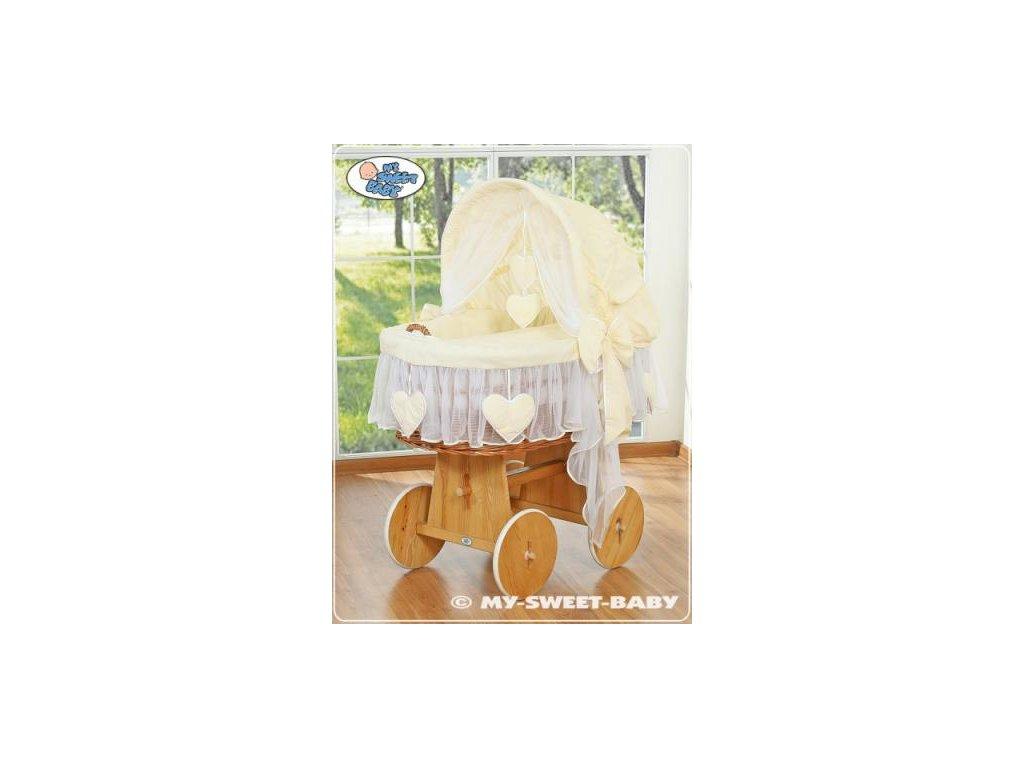 Proutěný maxi koš pro miminko My Sweet Baby SRDÍČKA > varianta 58962-142 2022