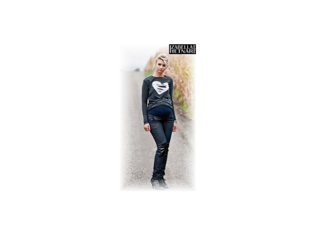 Těhotenské kalhoty/jeans NANA - granát jeans 2019