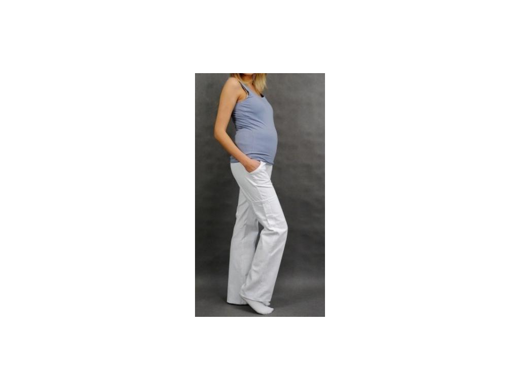 Těhotenské kalhoty s boční kapsou - bílá 2020