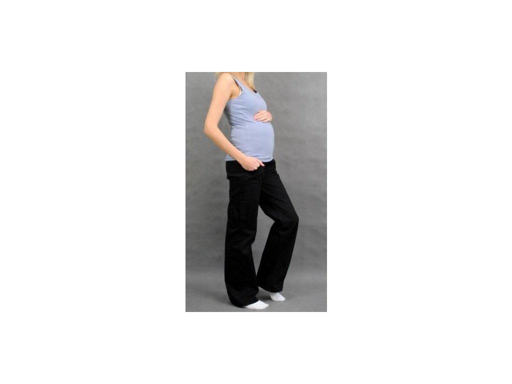 Těhotenské kalhoty s boční kapsou - černá 2020