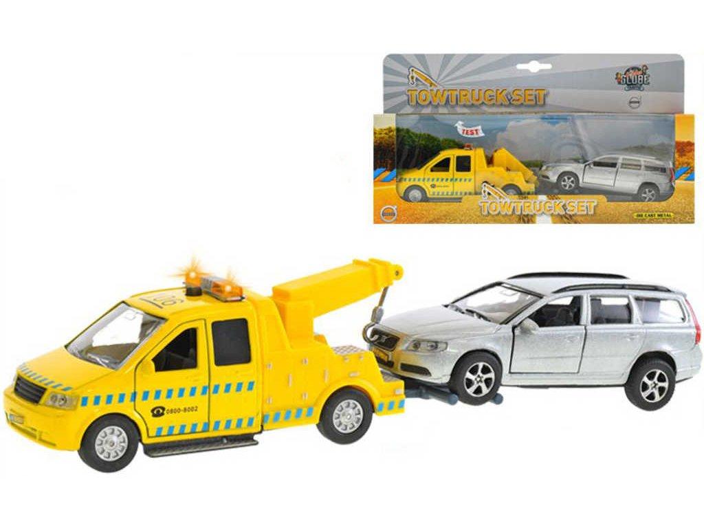 Set auto kovové odtahová služba na zpětný chod + Volvo V70 na baterie Světlo Zvuk
