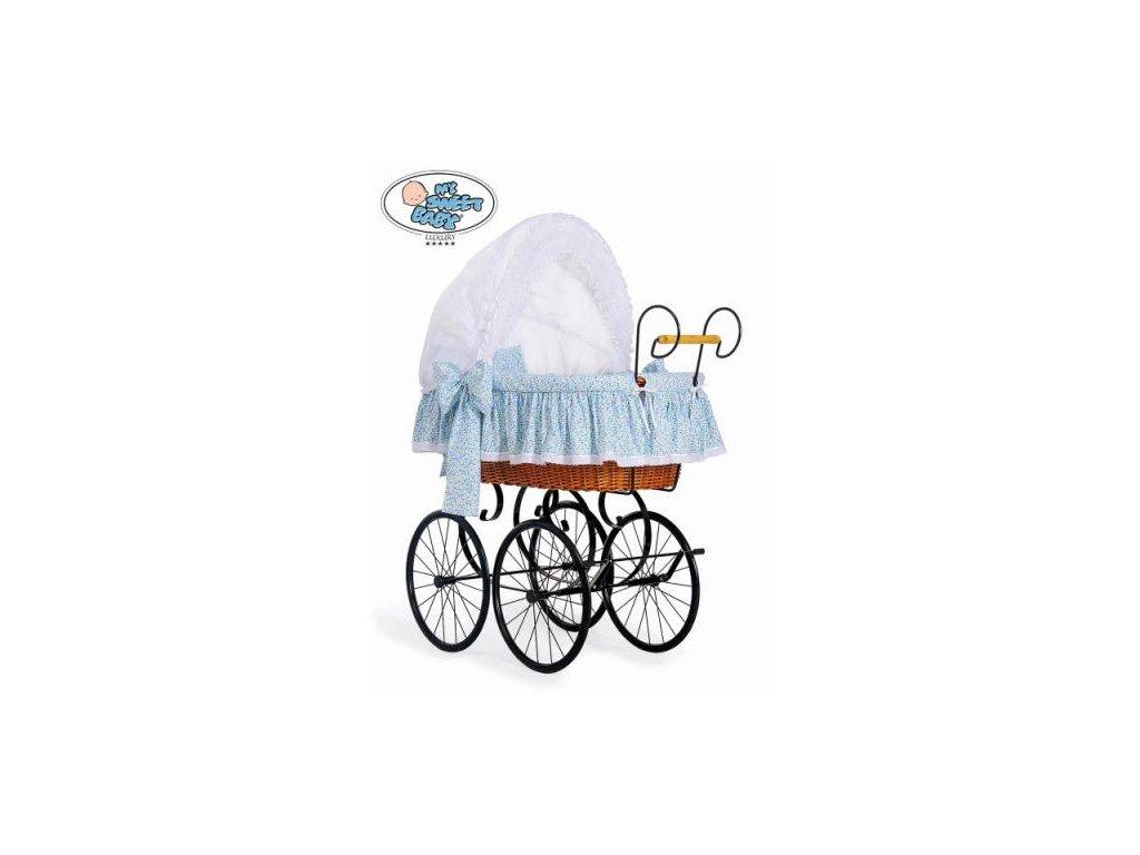 Luxusní RETRO koš na miminko MY SWEET BABY - DOMÁCÍ KOČÁREK > varianta 2100-914 (modrá louka) 2022