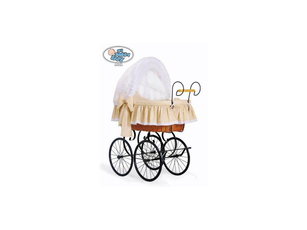 Luxusní RETRO koš na miminko MY SWEET BABY - DOMÁCÍ KOČÁREK > varianta 2100-916 (tečky na béžovém) 2022