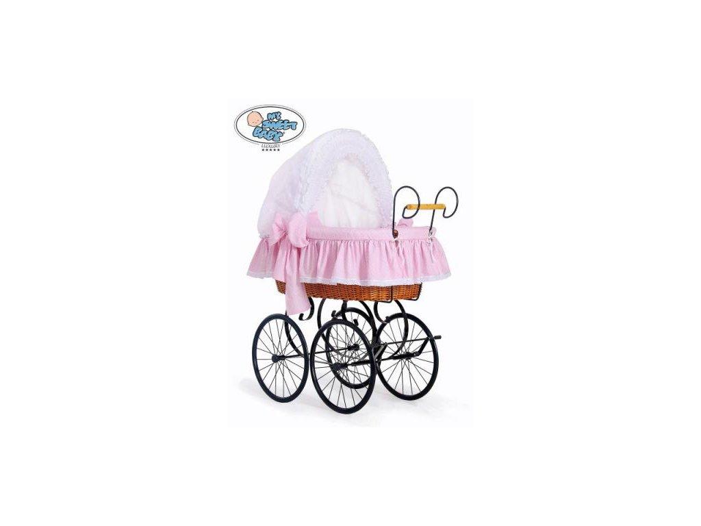 Luxusní RETRO koš na miminko MY SWEET BABY - DOMÁCÍ KOČÁREK > varianta 2100-917 (tečky na růžovém) 2022