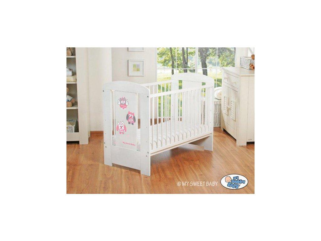 Dětská postýlka My Sweet Baby - SOVY bílá > varianta 426 růžová 2022