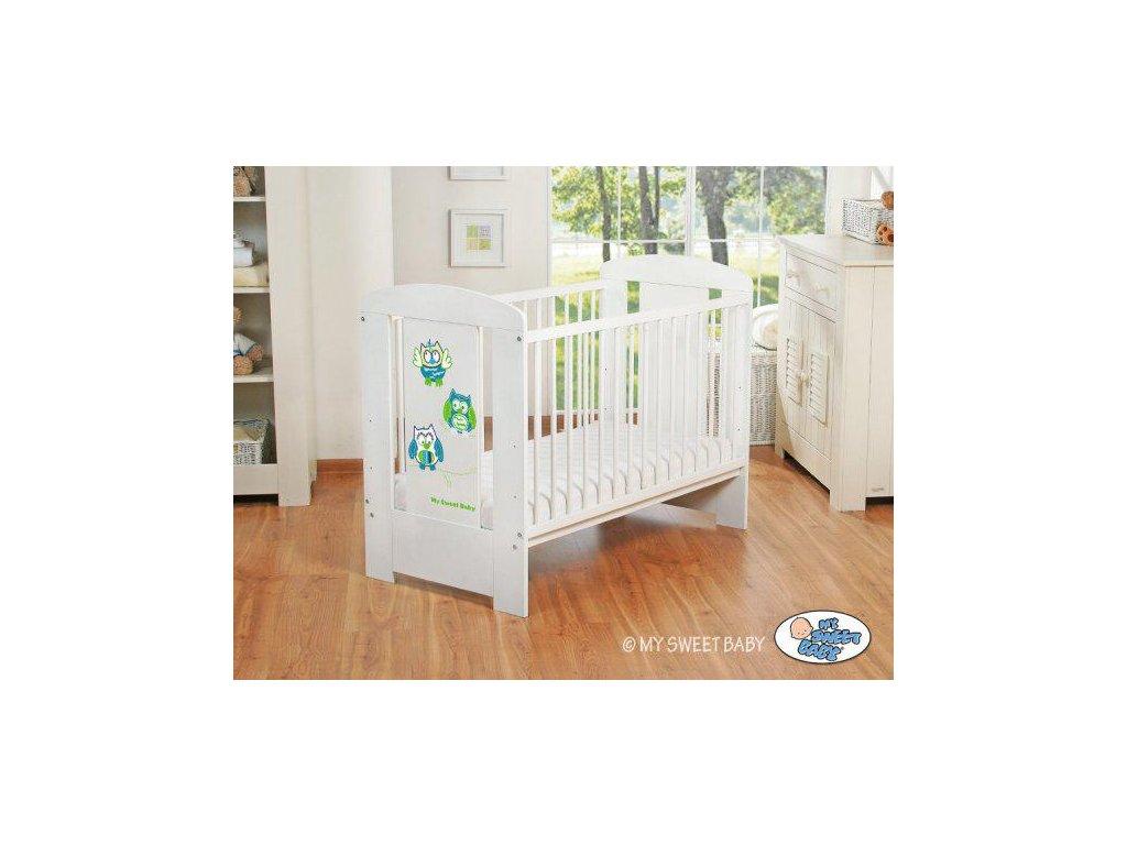 Dětská postýlka My Sweet Baby - SOVY bílá > varianta 428 zelená 2022