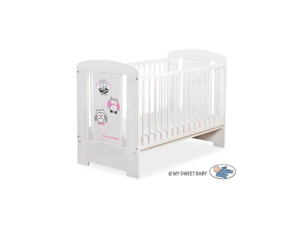 Dětská postýlka My Sweet Baby - SOVY bílá > varianta 429 šedá + růžová 2022