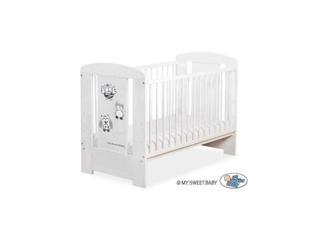 Dětská postýlka My Sweet Baby - SOVY bílá > varianta 430 šedá + černá 2022