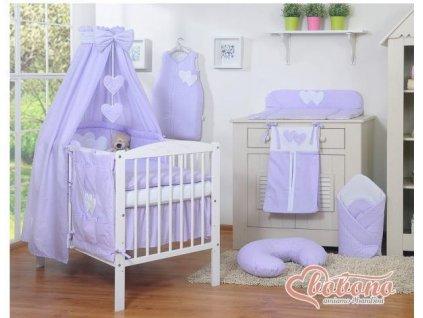Dětská postýlka kompletní výbava SRDÍČKA nebesa bavlna > varianta tečky na fialovém 2021
