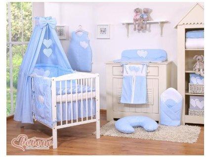 Dětská postýlka kompletní výbava SRDÍČKA nebesa bavlna > varianta tečky na modrém 2021