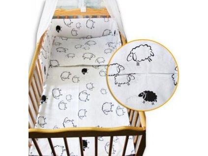 Povlečení do dětské postýlky BABY-TEX ovečky bílé 2021