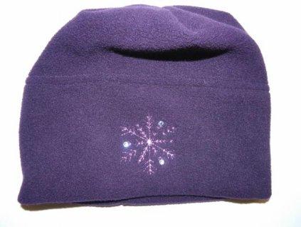 Dívčí zimní fleecová čepice Pico fialová s kamínky 2021
