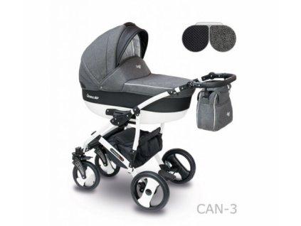 Kombinovaný kočárek Camarelo Carera new Can-3-tmavá šedá-černá 2021  + rukávník zdarma