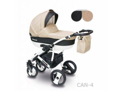 Kombinovaný kočárek Camarelo Carera new Can-4 béžová-černá 2021  + rukávník zdarma