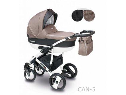 Kombinovaný kočárek Camarelo Carera new Can-5-hnědá-černá 2021  + rukávník zdarma