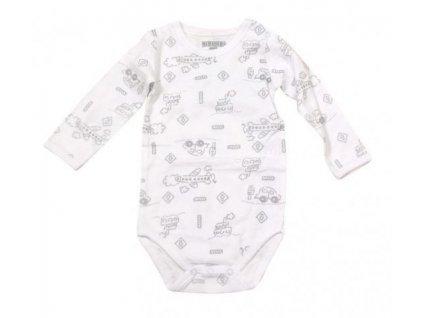 Body kojenecké PIDILIDI - bílé s motivy dopravních prostředků PD0807 2020