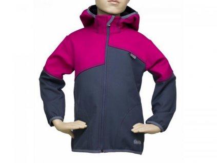 Dívčí bunda FANTOM softshell dvoubarevná 30/15- BUN 0302 šedo růžová 2021