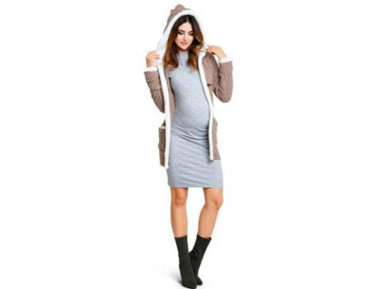 Těhotenský svetr Happymum Nordic beige cardigan 2018