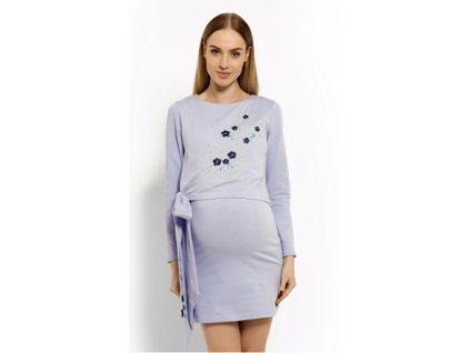 Elegantní těhotenské šaty, tunika s výšivkou a stuhou 2020