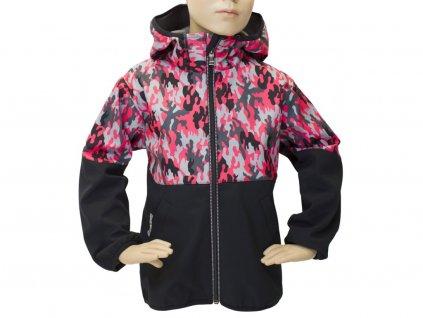 Bunda softshell Fantom 30/15 černo-růžový maskáč 2020