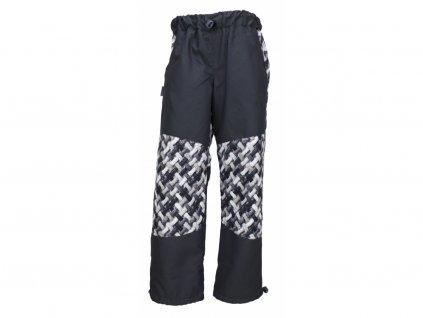 Dětské kalhoty Fantom s kostkou se zátěrem a podšívkou - copánky - růžová, modrá a šedá 2021
