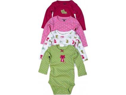 body kojenecké 4pack, s dlouhým rukávem, Pidilidi, PD1004, holka 2021