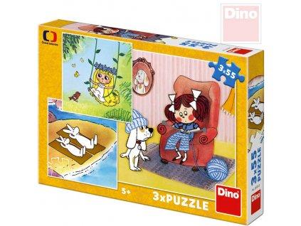 DINO Puzzle 3x55 dílků Moje pohádky Večerníček 18x18cm skládačka 3v1
