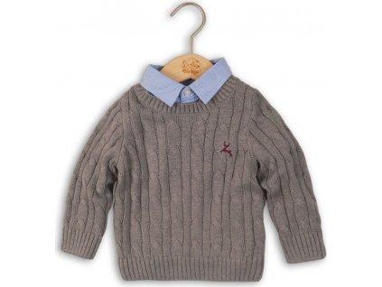 Svetr chlapecký se všitou košilí, Minoti, CAMDEN 4, šedá