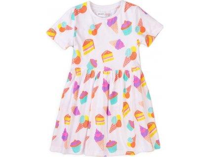 Šaty dívčí bavlněné, Minoti, 6KDRESS 5, bílá