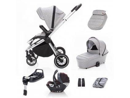 SET kočárek Move+ korba+adaptéry+autosedačka+báze, Silver Grey/Silver