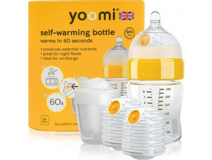 Yoomi 8oz Bottle /2 x Warmer/Teat/Pod 2019 - Y18B2W1P