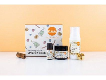 Kvitok Dárkový kosmetický balíček Vánoční večer - sprcháč, tělový krém a aroma směs
