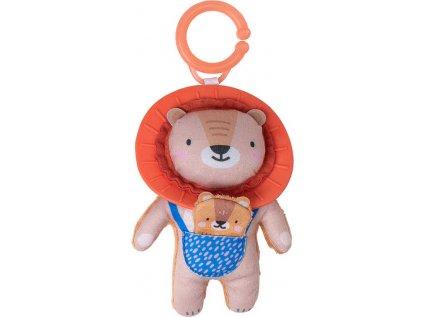 TAF TOYS Baby chrastítko a kousátko lev Harry 17cm textilní pro miminko