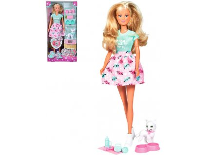 SIMBA Panenka Steffi Kitty Love 29cm set s koťátkem a doplňky v krabici