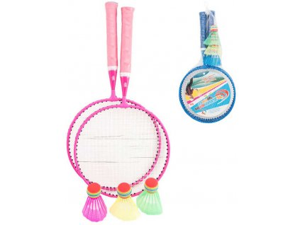 Hra Badminton dětský sada 2 pálky + 3 košíčky kov 2 barvy v síťce