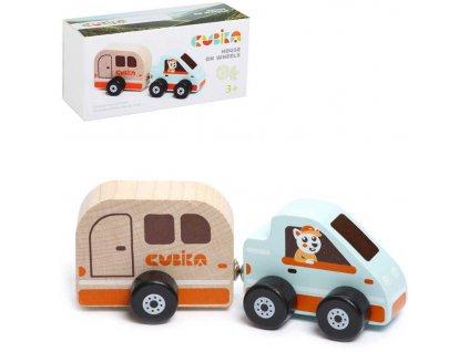 CUBIKA DŘEVO Magnetický set auto s karavanem *DŘEVĚNÉ HRAČKY*