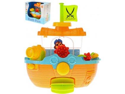 Baby loďka do vany 22cm s přísavkami stříká vodu plast v krabici