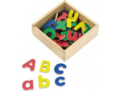 DŘEVO Písmena magnetická set 52ks dřevěná krabička *DŘEVĚNÉ HRAČKY*