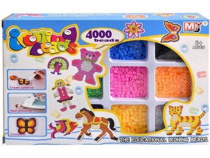 Korálky barevné zažehlovací kreativní set 4000ks s doplňky v krabici