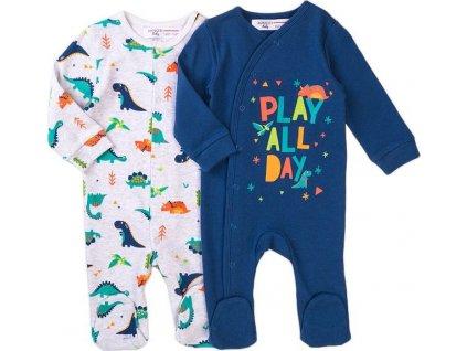 Overal kojenecký bavlněný 2pack, Minoti, Jurassic 11, modrá