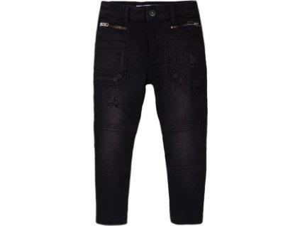 Kalhoty chlapecké džínové s elastanem, Minoti, Stereo 9, černá