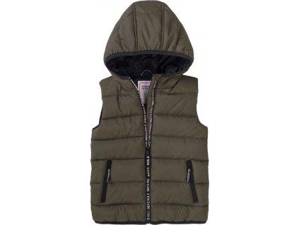 Vesta chlapecká Puffa s kapucí, Minoti, 7BGILET 10, khaki