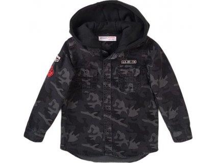 Košile chlapecká maskáčová s kapucí, Minoti, Stereo 8, šedá