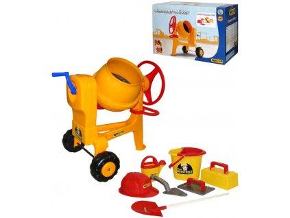 WADER Dětská míchačka Construct žlutá s přilbou a zednickým nářadím 50649