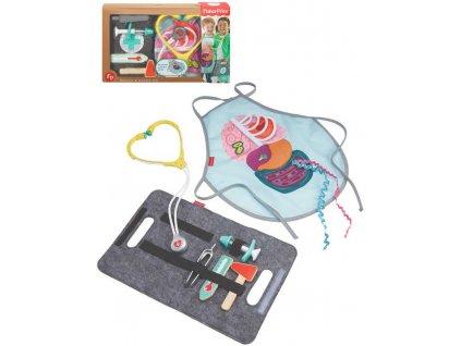 FISHER PRICE DŘEVO Doktor herní set lékařské potřeby se zástěrou a taškou