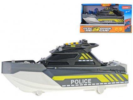 Člun policejní pátrací 21cm na baterie Světlo Zvuk plast