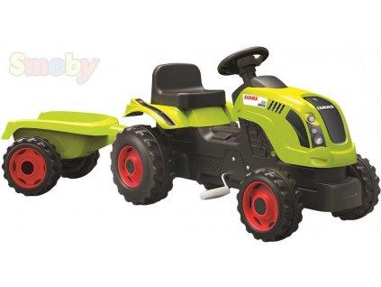 SMOBY Baby traktor dětský šlapací CLAAS zelený s vlečkou a klaksonem plast