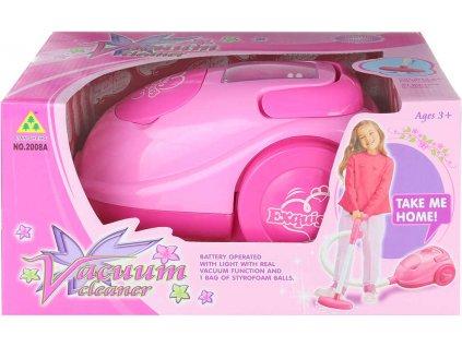 Vysavač dětský růžový na baterie vysává polystyrenové kuličky Světlo Zvuk